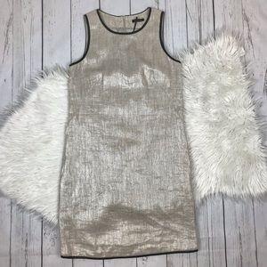 NWOT Massimo Dutti 100% Flax Metallic Dress